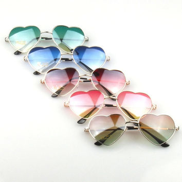 Fashion unisex gradient colored sunglasses Cute heart-shaped glasses = 1946309252