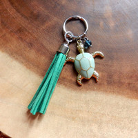 Turtle Key Chain, Tassel Key Chain, Beach Key Chain, DZ Gift, Ocean Key Chain, Summer Key Chain
