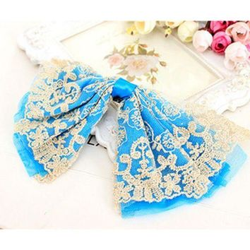 LMFGC3 Big Lace Ribbon Bows Embroidered Boutique Headwear Hair Accessories for Women Hair Clips Barrettes for Girls Children Kids
