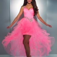 Ballkleider Shop — A-line One Shoulder Organza Asymmetrical Pink Beading Prom Dress at Msdressy