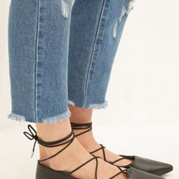 Faux Leather Lace-Up Flats