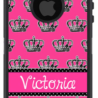 OTTERBOX DEFENDER iPhone 5 5S 5C 4/4S iPod Touch 5G Case Custom Crown Princess Hot Pink 3 letter mono or Name Monogram Personalized