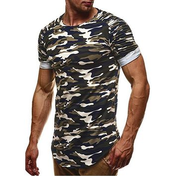 Camouflage Slim Fit Men Longline Shirts Extra Long Oversized Tall Tees