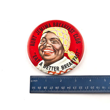 "Aunt Jemima 4"" Tin Litho Breakfast Club Pin, Green Duck Co, Union Label"