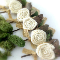 Burlap Boutonnière Groom, Groomsmen, Rustic  Flower w/ Moss,  Country Wedding, Shabby Chic MADE TO ORDER