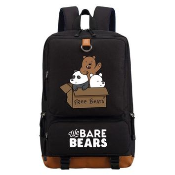 Student Backpack Children WISHOT We Bare Bears backpack casual backpack teenagers Men women's Student School Bags travel Shoulder Bag Laptop Bags AT_49_3