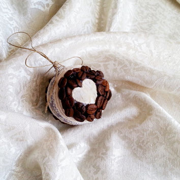 Fragrant christmas tree ornament coffee beans, birch bark hearts cotton embroidered ribbon linen cord christmas decor natural rustic