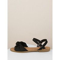 Open Toe Bow Front Buckled Ankle Flat Sandals