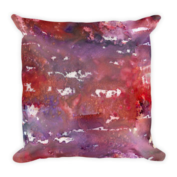 Watercolor Red Purple Decorative Throw Pillow 18x18