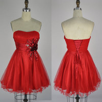 Strapless Sweetheart Mini Short Tulle Red Party Dress