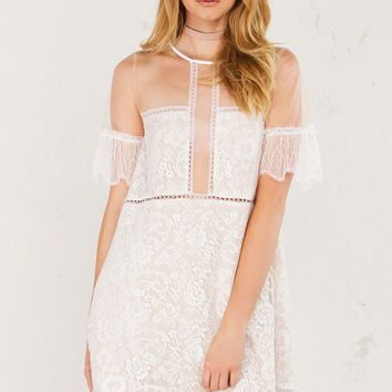 Kendall + Kylie Sheer Paneled Lace Babydoll Dress With Eyelet Trim at Hem and Short Sleeves in Black and White
