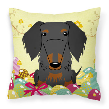 Easter Eggs Wire Haired Dachshund Black Tan Fabric Decorative Pillow BB6127PW1414