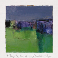 May 5, 2014 - Original Abstract Oil Painting - 9x9 painting (9 x 9 cm - app. 4 x 4 inch) with 8 x 10 inch mat