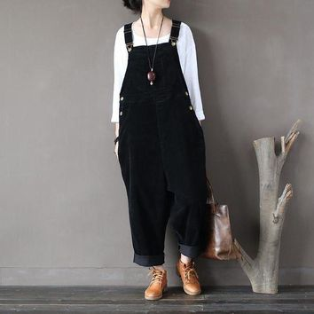 DKLW8 Women Autumn Winter Cotton Corduroy Vintage Rompers Jumpsuits Retro Solid Color Loose Overalls Ladies Washed Pants Trousers
