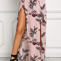 Mauve Floral Two Slit Maxi Skirt
