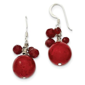 Sterling Silver Faceted Red Jasper & 14mm Red Coral Earrings