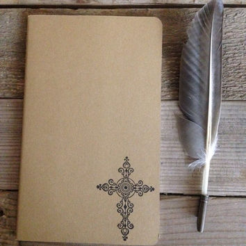 Cross hand stamped journal