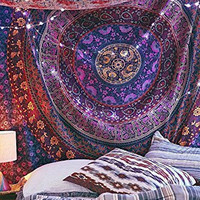 Handmade Mandala Hippie Tapestry Bedspread Comforter Cotton 84 X 90 Inches (Large Queen Size ) Multi-Color