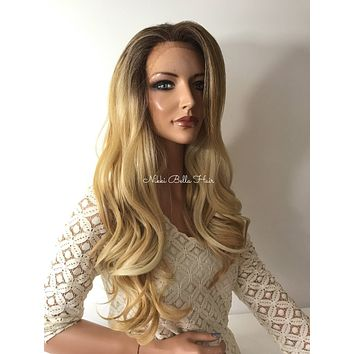 Balayage Ombre Blond Human Hair Blend Multi Parting Lace Front Wig