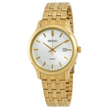 Seiko Silver Dial Gold-Tone Stainless Steel Mens Watch SUR148P1