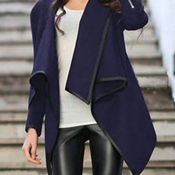 Blue Wrap Asymmetrical Coat Trendy Blue Jacket