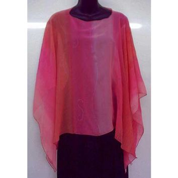 Women'S Silk Poncho Top - Shades Of Pink