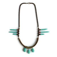 ZEUS statement necklace - Turquoise, leather and copper