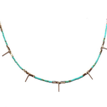 Turquoise Jewelry, Turquoise and Gold Necklace, 14k Gold Filled Necklace, Turquoise Gemstone Necklace, Choker Spike Necklace, Turquoise