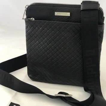 NWT BALDININI TREND Men's Woven Shoulder Crossbody Small Black Bag Made in Italy