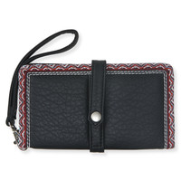 Faux Leather Chevron Trim Bifold Wallet