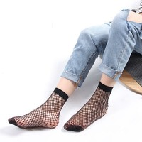 1Pair Sexy Women Breathable Thin Fishnet Socks Streetwear Mesh Summer Girls Ankle Hosiery Socks