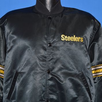 80s Pittsburgh Steelers NFL Satin Snap Up Jacket Large