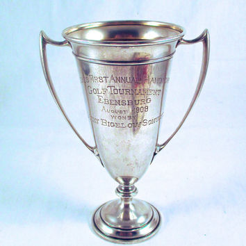 Antique STERLING LOVING CUP Trophy Sterling Silver Ladies Golf Tournament Loving Cup Trophy Ebensburg August 1909