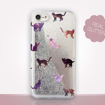 Cats Glitter Phone Case - Transparent Case - Clear Case - Transparent iPhone 7 - Clear iPhone 7 Plus - Gel Case - iPhone 6/6S