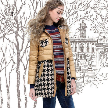 Vintage Winter Warm Women Plaid Down Coat Collection Parka Brand Fur Collar Hood Thick Jacket Coat European Style