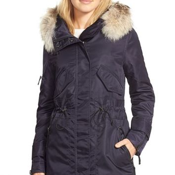 Women's SAM. 'Flight Satin Hudson' Parka with Genuine Coyote Fur Trim,