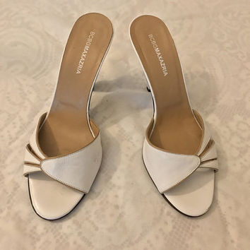 Vtg BCBG Maxazria White Leather Slide Sandals / Open Toe High Heel Sandals / Casual Chic Slip On Shoes / VERO CUOIO Italian Made In Italy