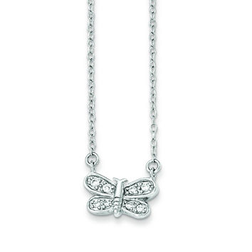 Sterling Silver Rhodium-plated CZ Dragonfly Necklace QG3689