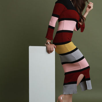 Multi-Color Stripe Knit Maxi Dress | UrbanOG