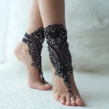 black silver french lace gothic barefoot sandals wedding prom party steampunk burlesque vampire bangle beach anklets bridal Shoes footles