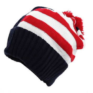 Men Casual Knit Stripes Pattern Beanie Hat