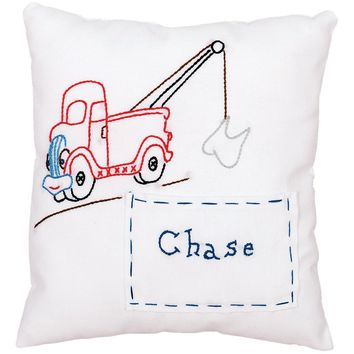 "Tow Truck Jack Dempsey Stamped Pillow Cover 8""X8"""