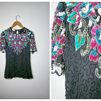 1980's Kazar Sequined Blouse // Floral Silk Beaded Top // Laurence Kazar Sequin Top // Art Deco Sequence Blouse Small
