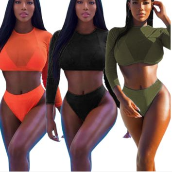 Fashion Sexy three piece swimsuit pure color orange black and long sleeve two piece bikini swimsuit