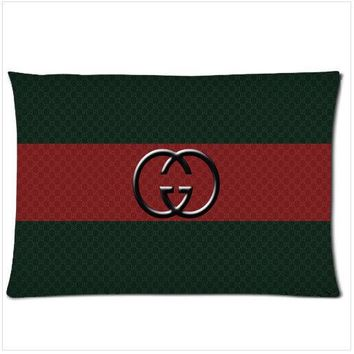 """GUCCI Design Zippered Pillow Case 18""""x 26"""" two sides"""