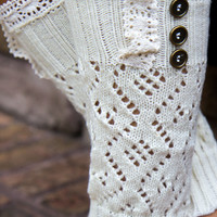 3 Button Long Boot Cuff - Ivory