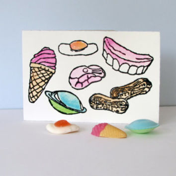 Fun Blank Greetings Card. Food Art. Retro Sweets. Candy Art Pink Ice Cream Cone. Linoprint Card. Linocut Card. Hand Painted Watercolor Card.