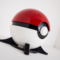 Pokeball Prop, Full-Scale/Resin Cast/Painted with FREE Stand!