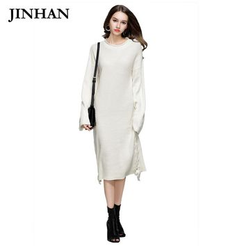 JINHAN Fashion O-Neck Women Knitted Sweater Autumn Winter Warm Long Female Pullovers Free Size Lace Up Sweaters Dresses JHS808