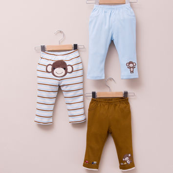3-pack Baby Boy Cotton Pants - Monkey